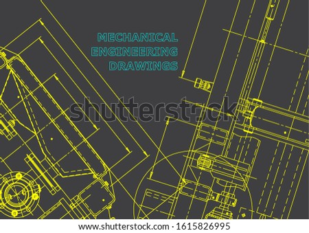 Blueprint. Vector engineering illustration. Computer aided design systems. Instrument-making drawings. Mechanical engineering drawing. Technical. Gray