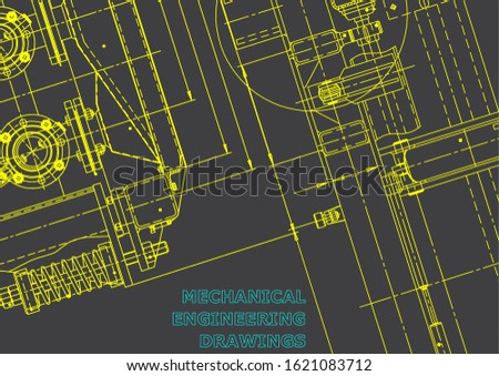 Blueprint. Vector engineering illustration. Computer aided design systems. Instrument-making drawings. Mechanical engineering drawing. Technical illustrations, backgrounds. Gray