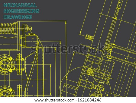 Blueprint. Vector engineering illustration. Computer aided design systems. Instrument-making drawings. Mechanical engineering drawing. Technical illustrations, background. Gray