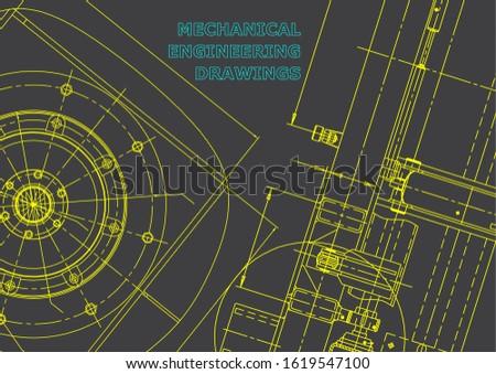 Blueprint. Vector engineering illustration. Cover, flyer, banner, background. Instrument-making drawings. Mechanical engineering drawing. Technical illustrations, backgrounds. Scheme. Gray