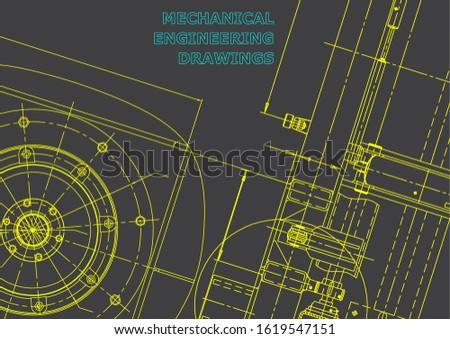 Blueprint. Vector engineering illustration. Cover, flyer, banner, background. Instrument-making drawings. Mechanical engineering drawing. Technical illustrations. Gray