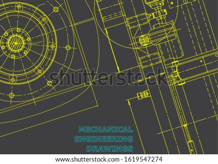 Blueprint. Vector engineering illustration. Cover, flyer, banner, background. Instrument-making drawings. Mechanical engineering drawing. Technical. Gray