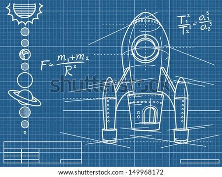 blueprint with spaceship and