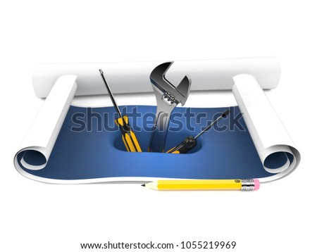 Blueprint with work tools isolated on white background. 3d illustration