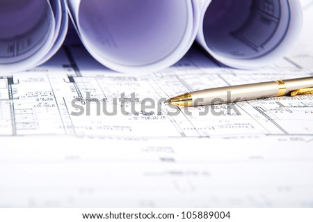 blueprints and documents, workplace building engineer, still life