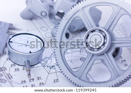Blueprints and machine parts