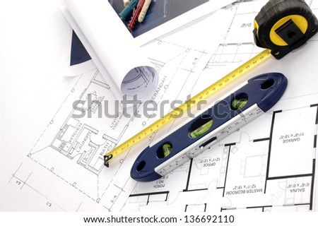 Blueprints, level and meter, House interior design, concept of home architecture