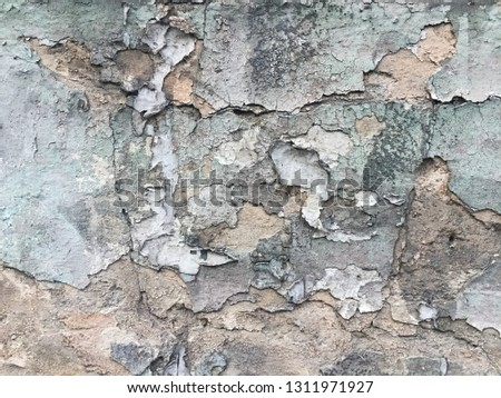 Blues cracked stucco concrete vintage wall background,old wall #1311971927