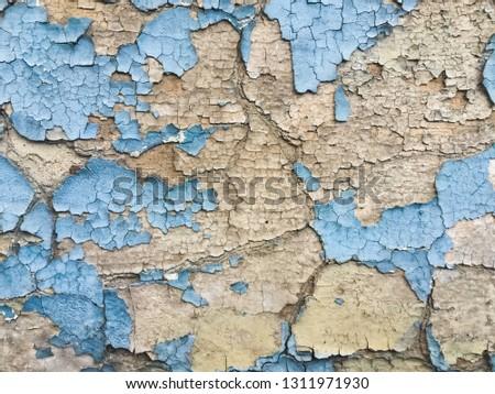 Blues cracked stucco concrete vintage wall background,old wall #1311971930