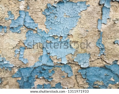 Blues cracked stucco concrete vintage wall background,old wall #1311971933