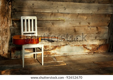 blues guitar on an old wooden chair at the wall as background