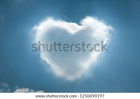 bluesky and white cloud background heart valentine #1250690197