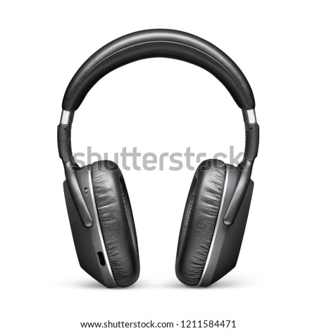 Bluetooth Headphones Isolated on White Background. Front View Black Stereo Wireless Headset With Inline Mic Integrated Microphone and Audio Cable. Powerful Advanced Acoustic Stereo Sound System
