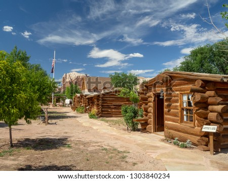 Bluff Fort Pioneer Historic Site with a cottage and cabin, Utah, United States