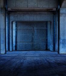 Bluish dark corridor made of concrete floor and columns. Stone wall and floor.