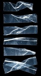 bluish set of transparent adhesive tape or strips isolated on black background, crumpled plastic sticky snips, poster design overlays or elements, photo fixture.