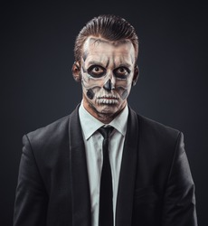 blunt businessman with make-up skeleton