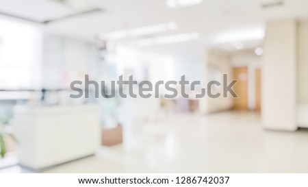 Blur abstract background of corridor in clean hospital. Blurred view of aisle in office with light floor. Blurry lobby and waiting area in hotel. Defocused empty area for event hall in shopping mall -