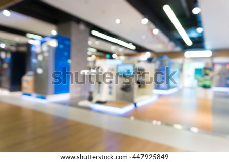 Blur Abstract Background of Home Appliance Shopping Retail Store with Bokeh