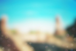 Blur ancient castle scenery in nature with abstract background, copy space, adventure concept, historical place and environmental ecology. Color effect style Vintage tone filter.