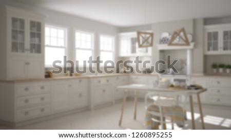 Blur background interior design, scandinavian classic kitchen with dining table and chairs, windows and morning light, vintage cooker and pendant lamps, minimalist architecture, 3d illustration