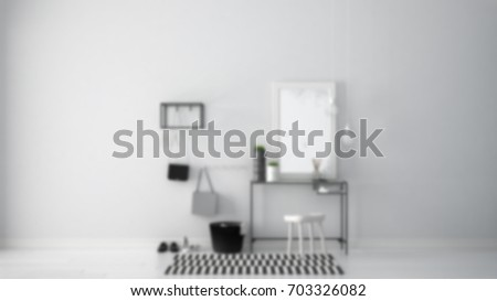 Blur background interior design, scandinavian entrance lobby hall with table, stool, carpet and mirror, 3d illustration  #703326082