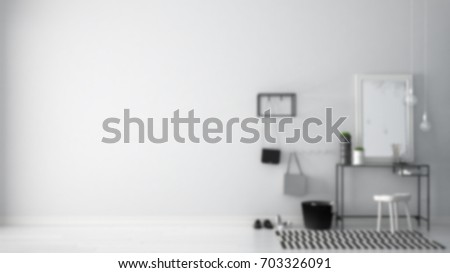 Blur background interior design, scandinavian entrance lobby hall with table, stool, carpet and mirror, 3d illustration  #703326091