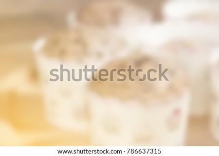 blur background of close up banana muffins bakery pattern #786637315