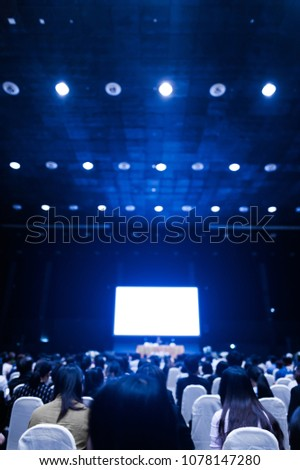 Blur background of conference or meeting room for businessman meeting and seminar with screen