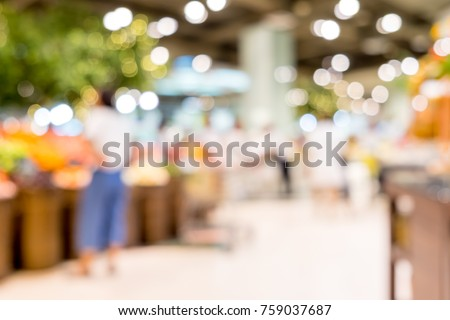 Blur background of customer shopping fresh food at Supermarket store product shelf with bokeh light