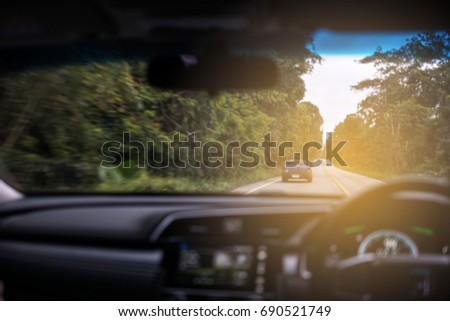 blur background of driving car...