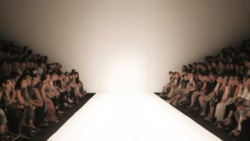 Blur background of  Fashion runway catwalk,Empty runway catwalk out of focus fashion show