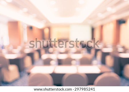 blur background, seminar event room with bokeh light background,Business concept. #297985241