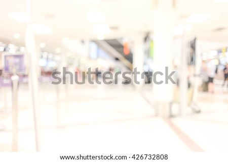 Blur background : Terminal Departure Check-in at airport with bokeh for background use. blur airport .  #426732808
