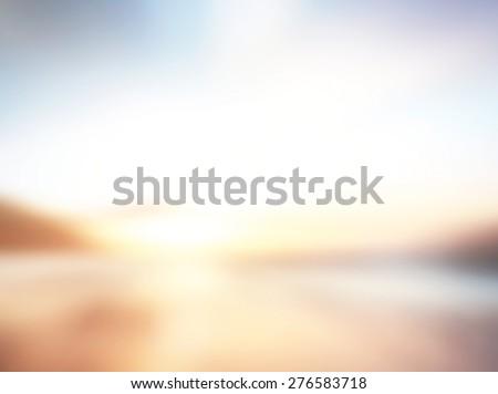 Blur beach. View Sun Ocean Wave Sea Sand Surf Rest Earth Fresh Resort Travel Calm Cloud Park idyllic White Ray Bokeh Abstract concept Flare Blurry Glow Brown Yellow Orange Dawn Soft Texture Lighting. #276583718