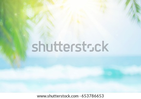 Blur beautiful nature green palm leaf on tropical beach with bokeh sun light wave abstract background.  - Shutterstock ID 653786653
