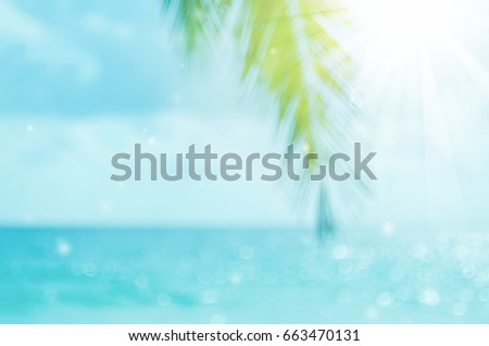 Blur beautiful nature green palm leaf on tropical beach with bokeh sun light wave abstract background.  - Shutterstock ID 663470131