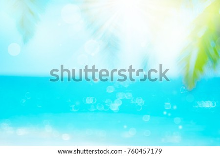 Blur beautiful nature green palm leaf on tropical beach with bokeh sun light wave abstract background. Copy space of summer vacation and business travel concept. Vintage tone filter effect color style - Shutterstock ID 760457179