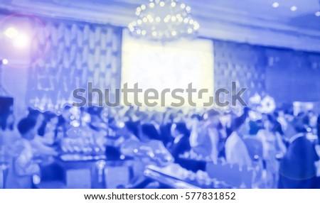 blur blue waiter on gala dinner service in hotel ballroom Stockfoto ©