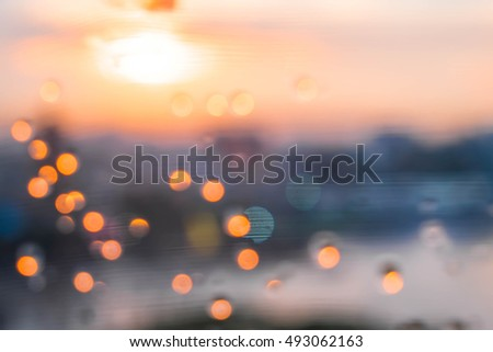 Blur bokeh cityscape at twilight time  #493062163