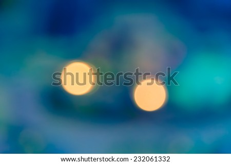 blur bokeh of two light with aqua green abstract background