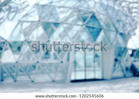 blur Building structures aluminum triangle geometry on facade of modern urban architecture.blur futuristic structures