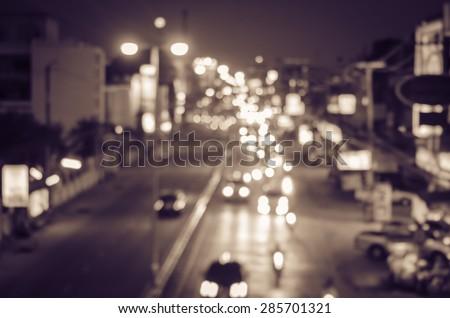 blur cars traffic on urban street  tone vintage.