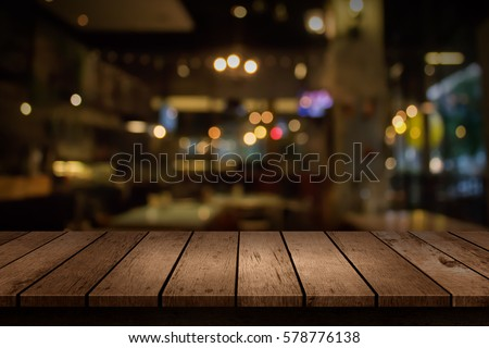 Blur coffee shop or cafe restaurant with abstract bokeh light background. For create montage product display #578776138