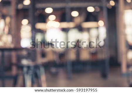 Blur coffee shop or cafe restaurant with abstract bokeh light image background. For create montage product display #593197955