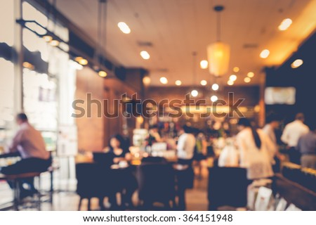 Blur coffee shop  or cafe restaurant with abstract bokeh light image background.For montage product display or design key visual layout #364151948