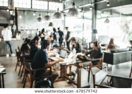 blur coffee shop  people work...