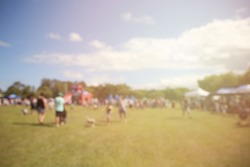 Blur defocused background of people, family in park fair, fun festive summer festival