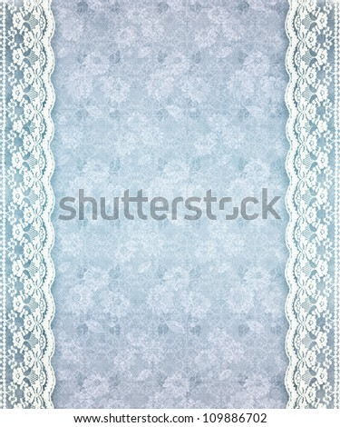 Blur floral lace background, white lace side borders with aged effect.
