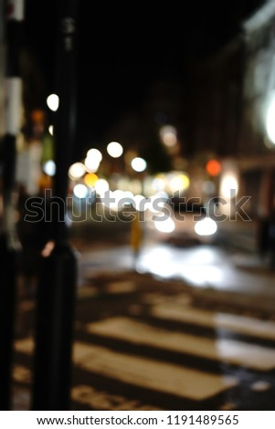 Blur focused urban abstract texture bokeh city lights & traffic jams in London #1191489565
